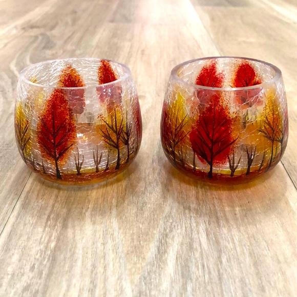 Crackle glass votive holders